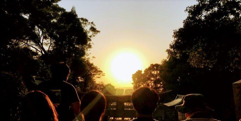宮地嶽神社紅葉夕日