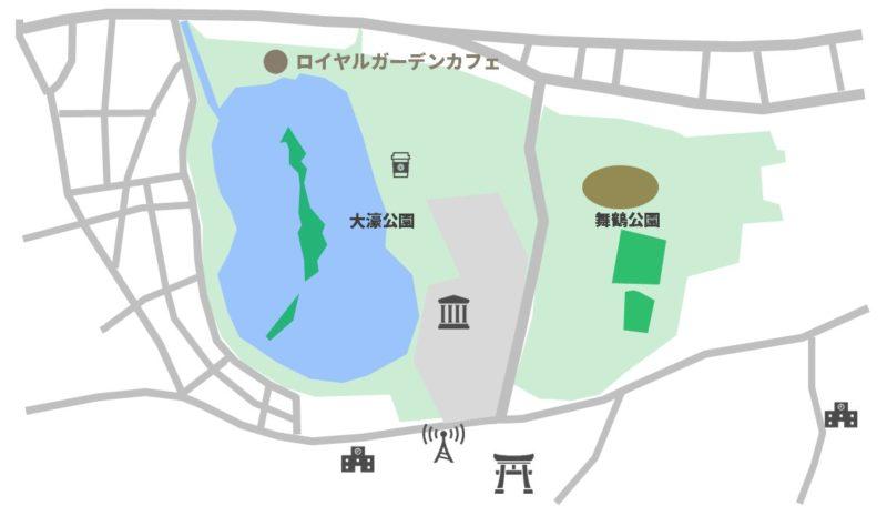 ロイヤルガーデンカフェ大濠公園マップ
